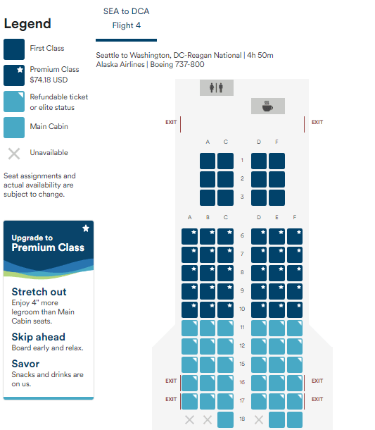 Which Alaska Airlines Routes Feature Premium Class