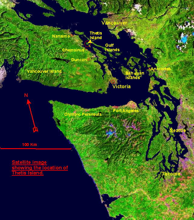 Area detail maps of thetis island  gulf islands  pacific northwest     satellite image showing location of Thetis in the Gulf of Georgia