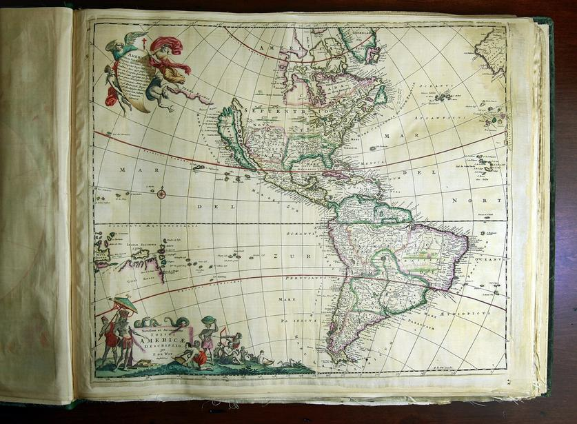 Collector opens new course map museum in La Jolla   The San Diego         Amsterdam cartographer  made this atlas  circa 1700  on silk  not  paper  It was probably done for royalty  The atlas is among the items at  the new Map