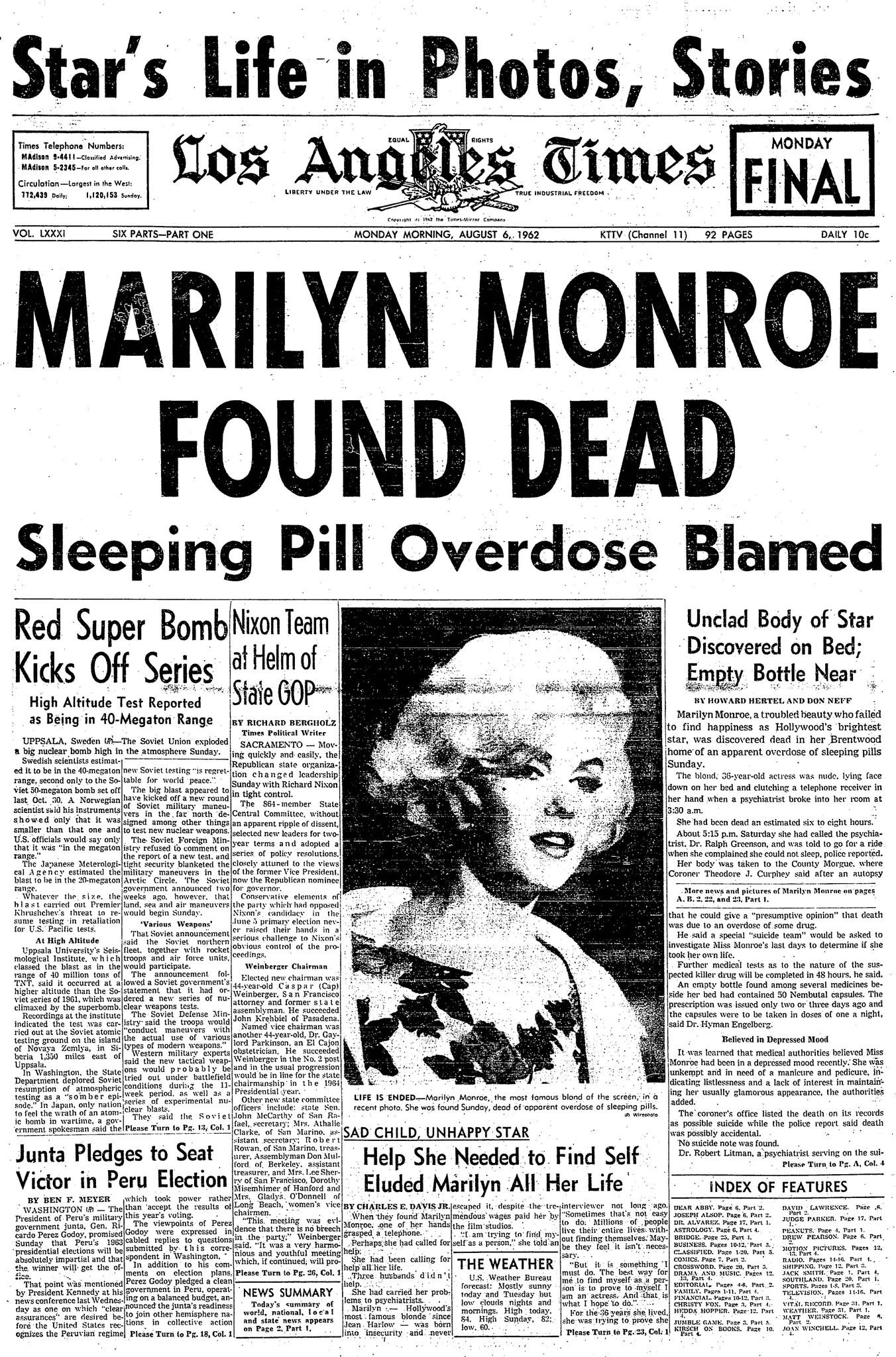 Marilyn Monroe's death - Los Angeles Times