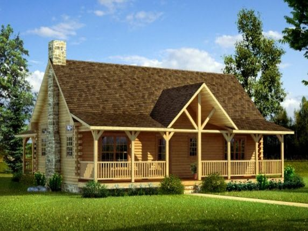 Log Cabin Double Wide Mobile Homes With Porch Log Cabin