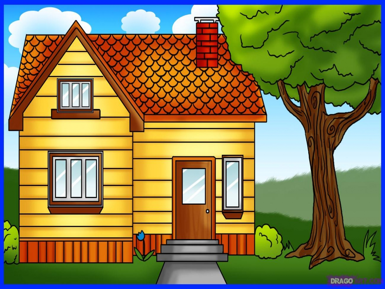 How To Draw Houses Drawing Full House How To Draw Small