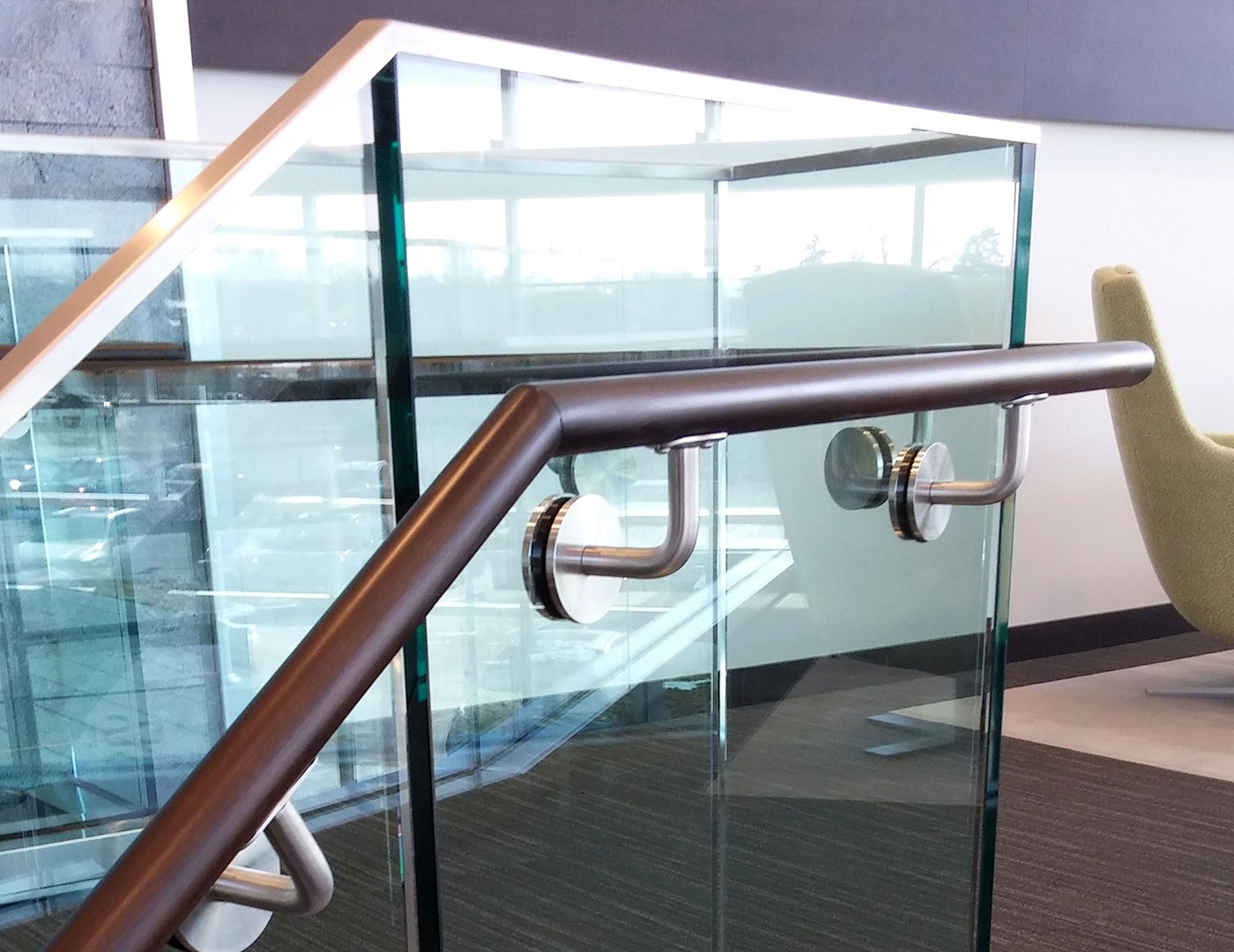 Base Shoe Glass Railing T Mobile Arena Trex Commercial Products   Staircase Handrails With Wood And Glass   Tempered Glass   Glass Panel   Wooden   Glass Printing   Solid Wood