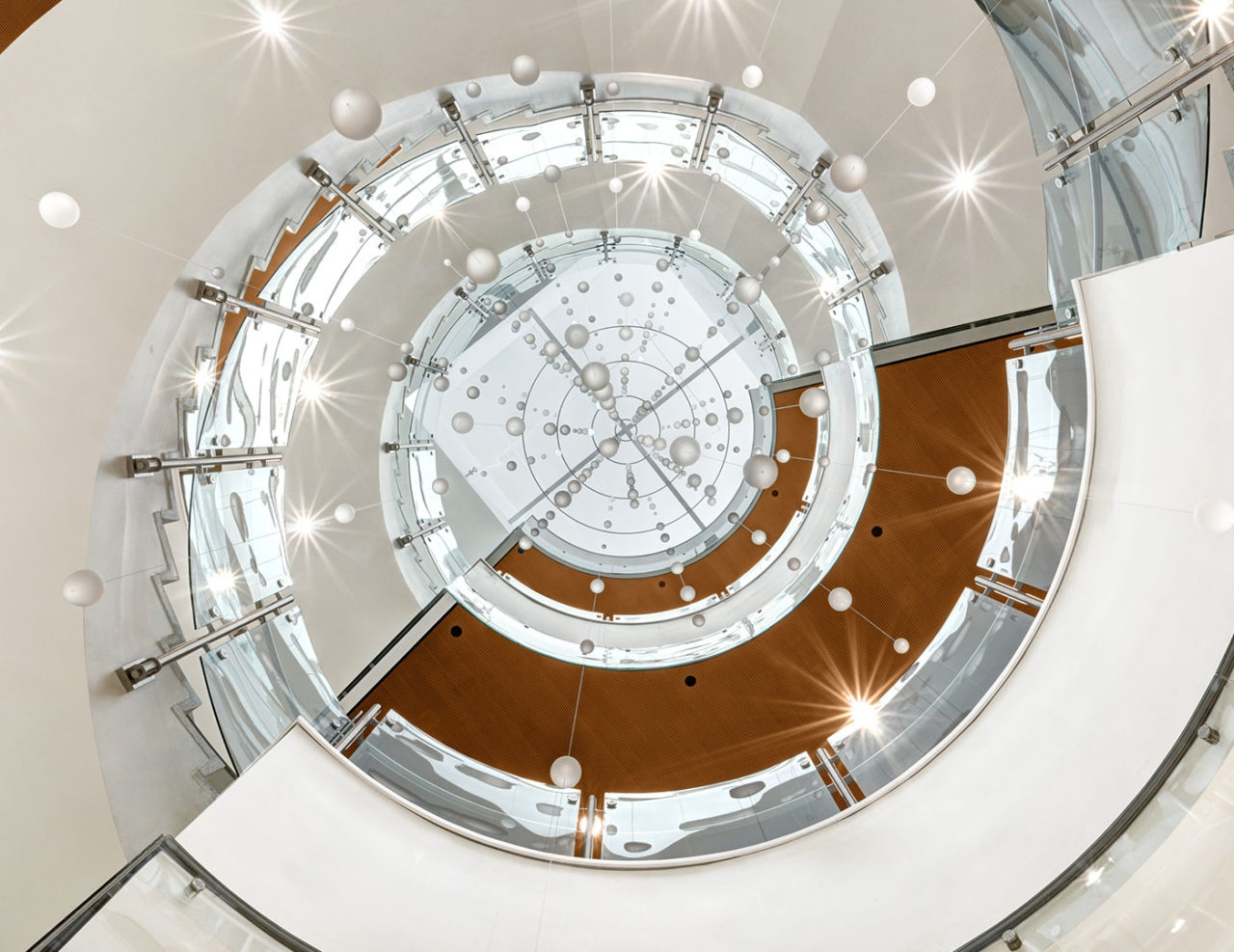 Colorado State University Health And Medical Center Trex | Spiral Staircase With Glass Railing | Exterior | In India Staircase | Stair Wood Bracket | Glass Insert | Inside Glass