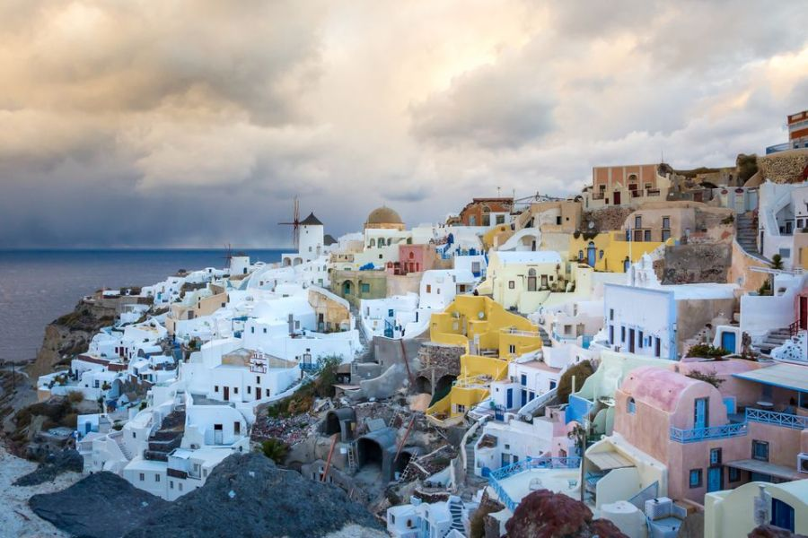 Traveling to Greece in December and January View of Santorini island during winter in Greece
