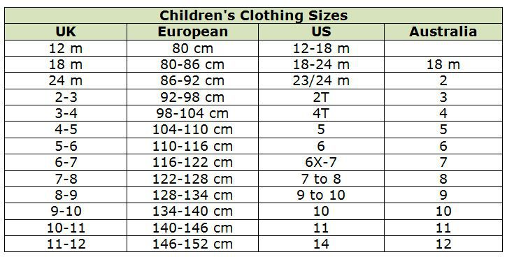 Kids Shoe Size Conversion