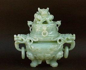Chinese Celadon Green Jade Carved Dragon Censer C 1920 Item 989477