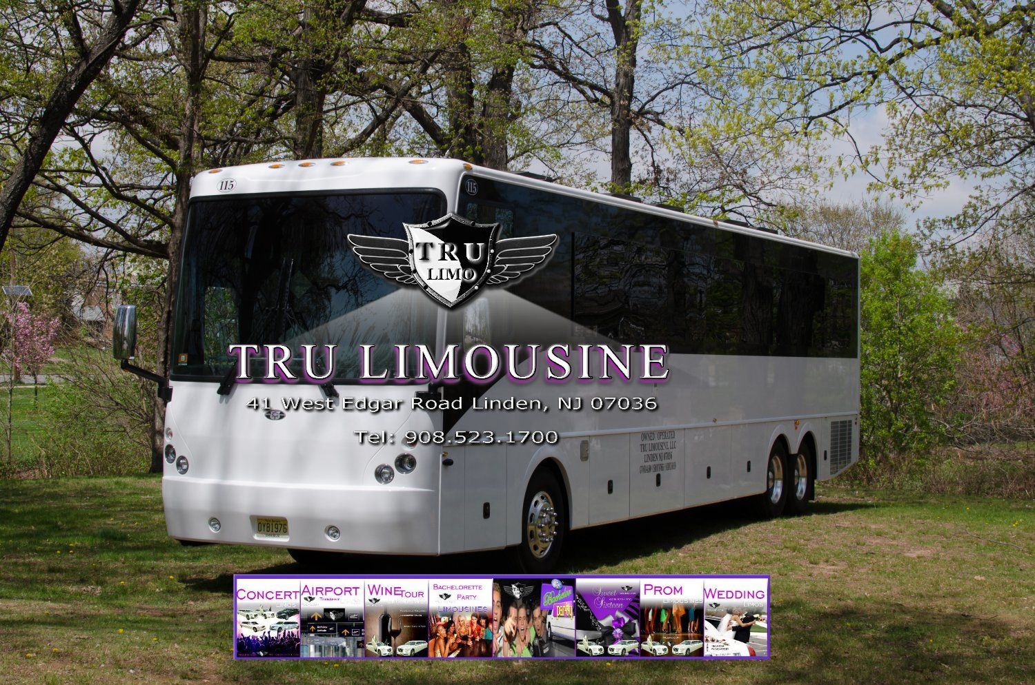 44 Passenger New Jersey Party Bus 115 Exterior 5 HIGHLAWN NEW JERSEY PARTY BUSES