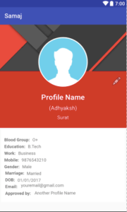 Android Profile Activity Layout Sample Example Tutorial