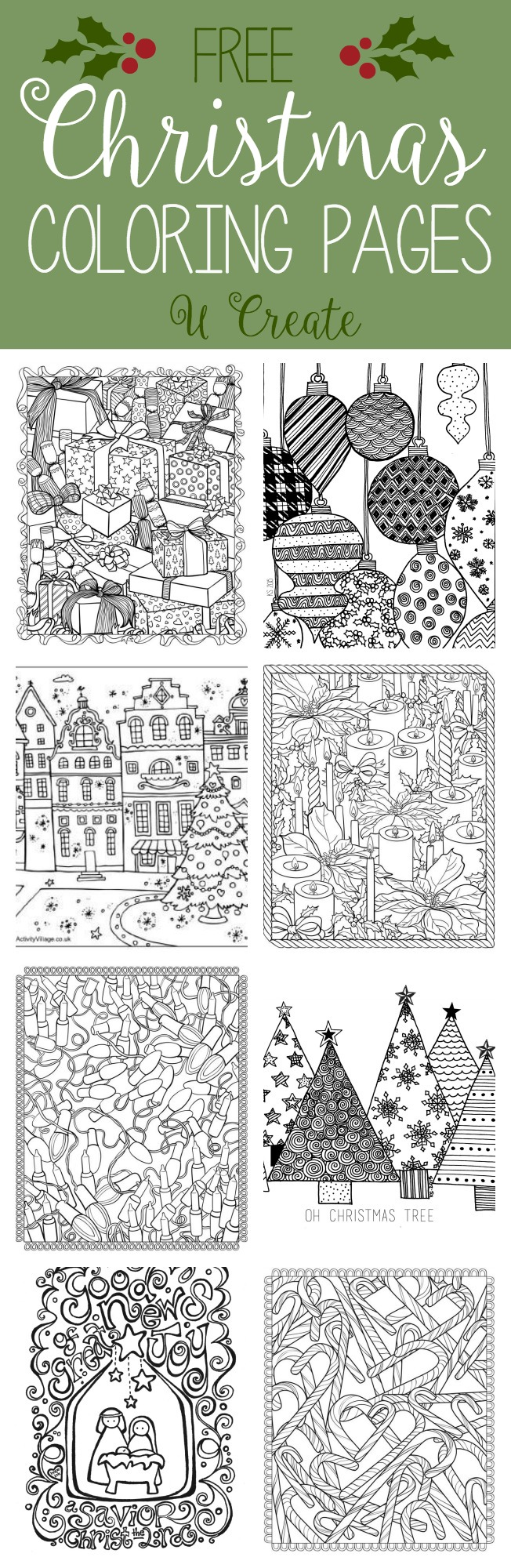 Free Christmas Adult Coloring Pages U Create