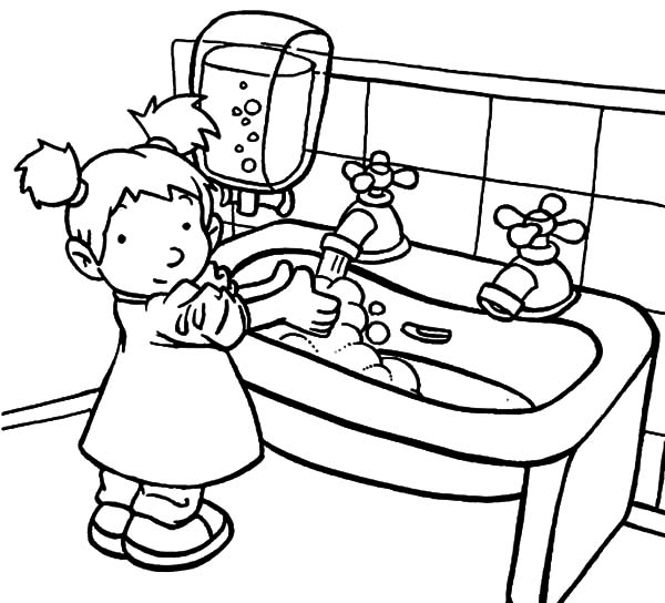 Save Water Hand Washing Cartoon Sinl