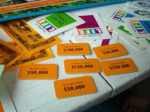 The Game of Life The most tedious part of the game is counting all the money  and then  adding up the money from the life cards  According to my life cards