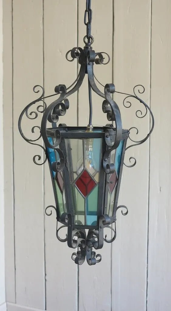 Antique Stained Glass Porch Lantern Chandelier