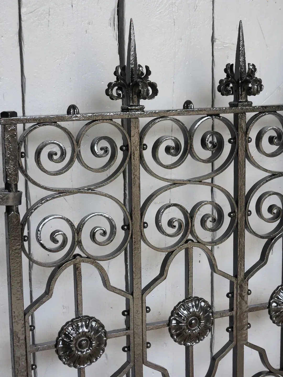Pair Of Antique Gothic Wrought Iron Gates With Cast Iron Posts