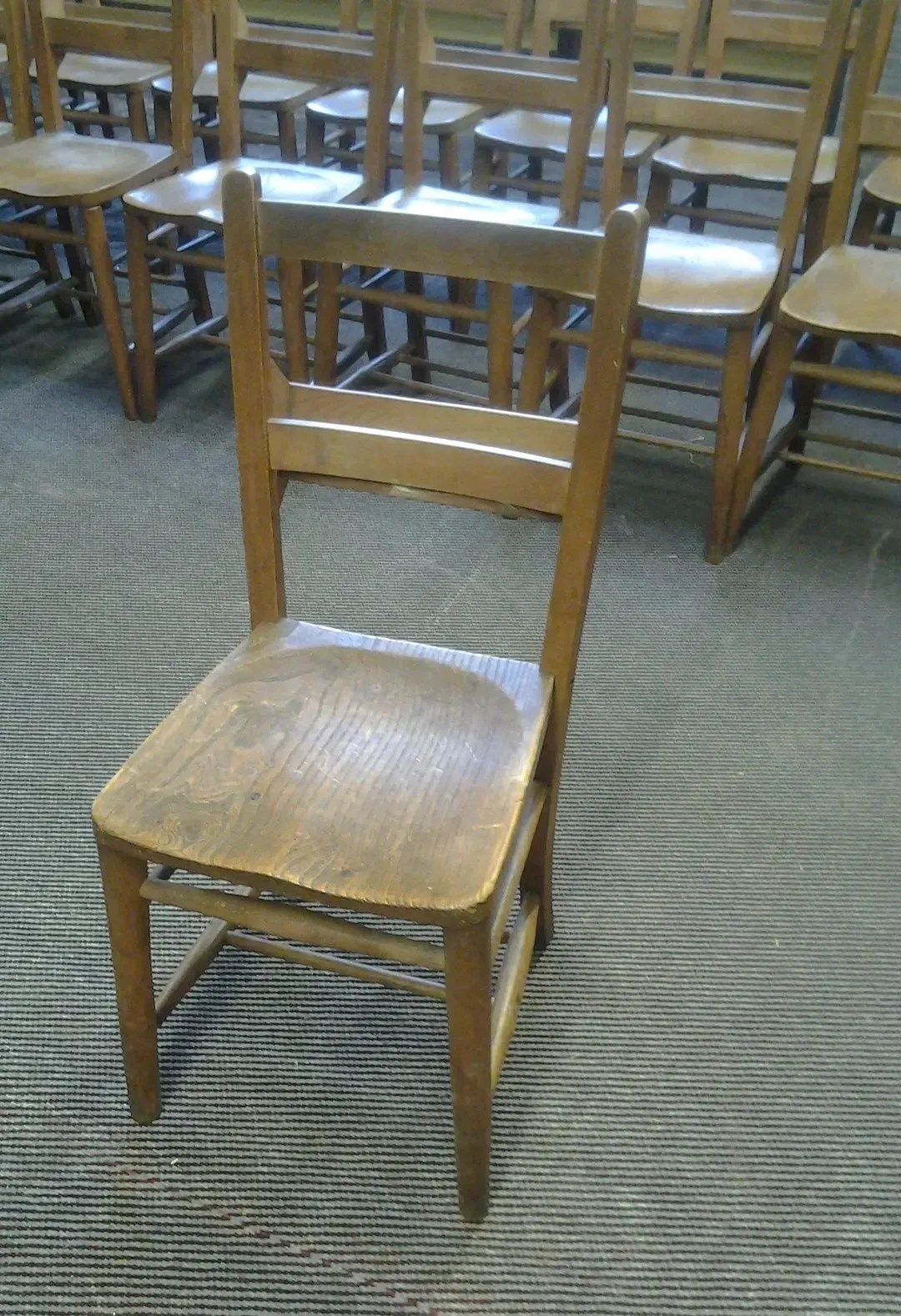 Antique Beech And Elm Church Chairs With Bible Backs