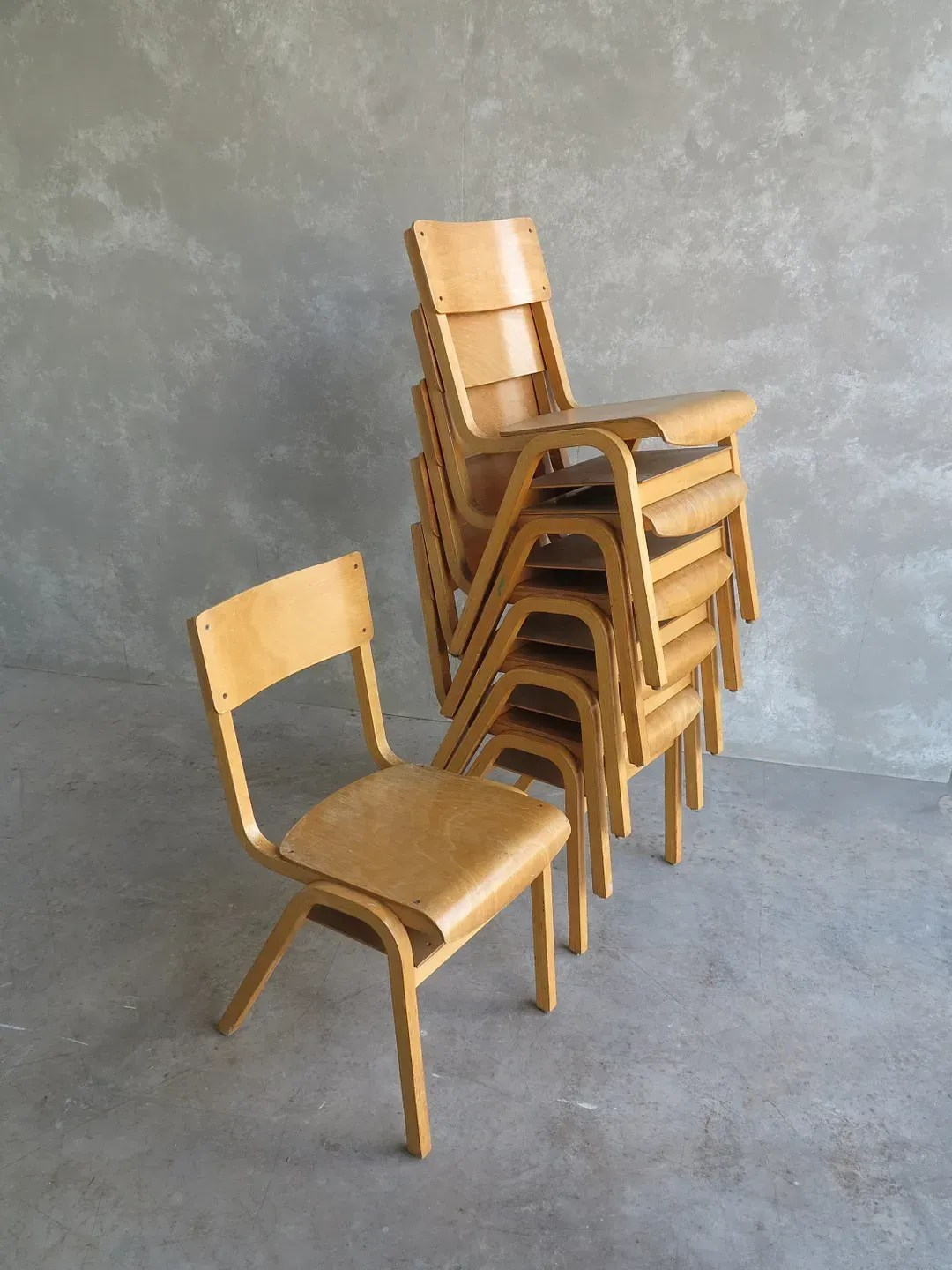 Old Retro Vintage Wooden Stacking Chairs From Portsmouth