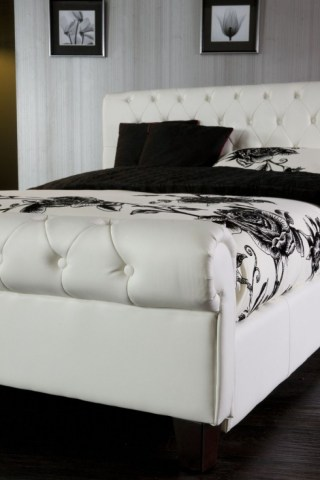 Limelight Phoenix White 5ft Kingsize Faux Leather Bed Frame by     Limelight Phoenix White 5ft Kingsize Faux Leather Bed Frame