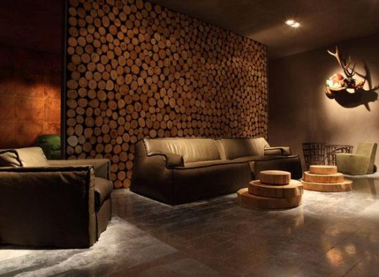 33 Stunning Accent Wall Ideas For Living Room Living room accent wall made of wooden logs