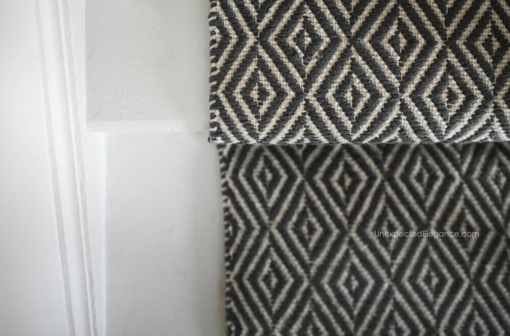 How To Replace Carpet With An Inexpensive Stair Runner For Around 100   Black And White Carpet Stairs   Victorian   Striped   Geometric   Low Cost Simple   Unusual