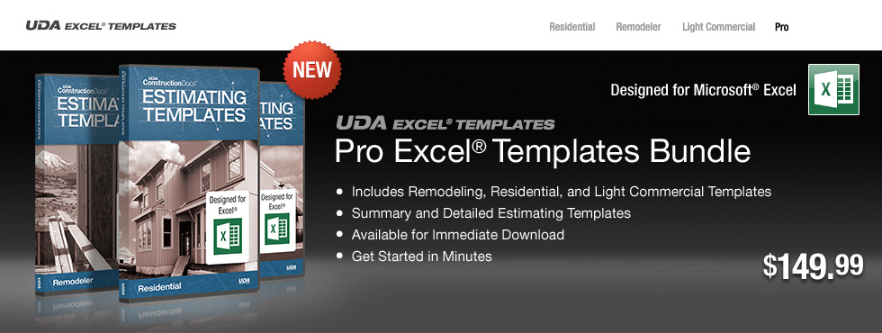 UDA Construction Estimating Templates   Pro Excel Templates