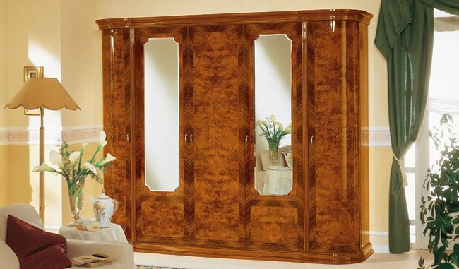 Esf Milady Italian Bedroom Set In Walnut Lacquer Finish