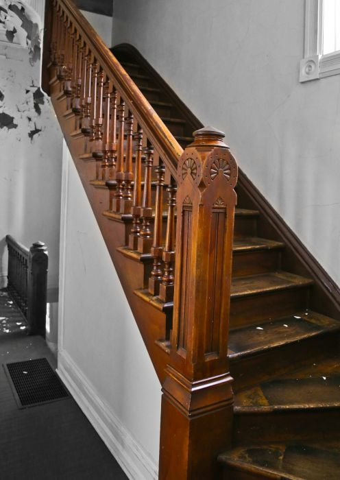 Original And Intact C 1880 S Antique American Salvaged Chicago | Antique Handrails For Stairs | Newel Posts | Wrought Iron Stair | Antique Wood | Antique Green | Wood