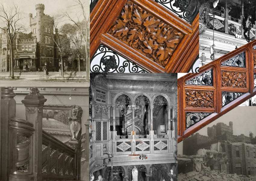 interior remnants salvaged from potter palmer mansion surface     i am thrilled to have finally located and authenticated two heavily carved  oak wood staircase railings salvaged from the potter palmer mansion or   castle