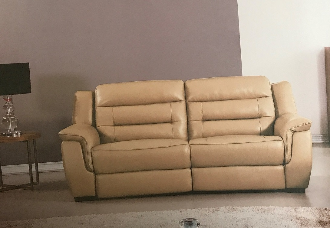 Tan Leather Reclining Sofa