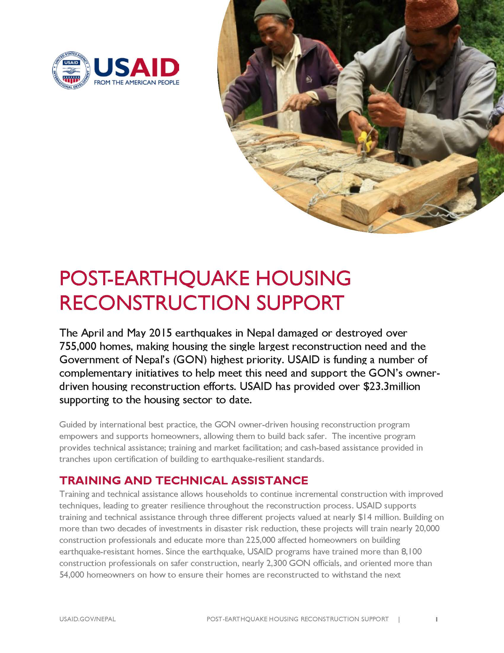 Post Earthquake Housing Reconstruction Support   Fact Sheet   Nepal     Fact Sheet  POST EARTHQUAKE HOUSING RECONSTRUCTION SUPPORT