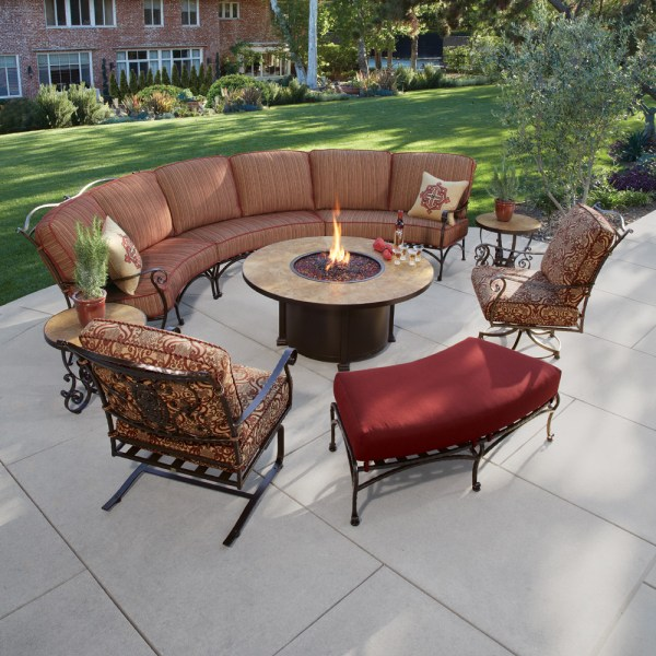 Wrought Iron Patio Furniture OW Lee San Cristobal Curved Sectional Set with Fire Pit Table    OW SANCRISTOBAL