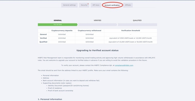 It is necessary to be verified to withdrawal your funds from HitBTC