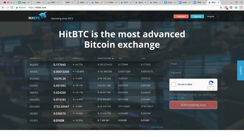 Homepage of HitBTC exchange