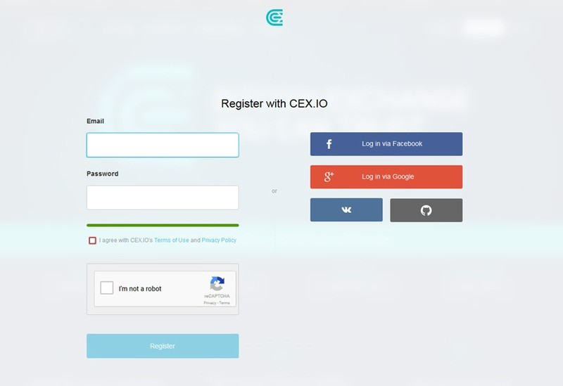 Register with the exchange by choosing either your email, Facebook, or Google account.
