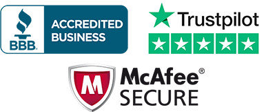 BBB Accredited 5 Star Trustpilot Review McAfee Secure
