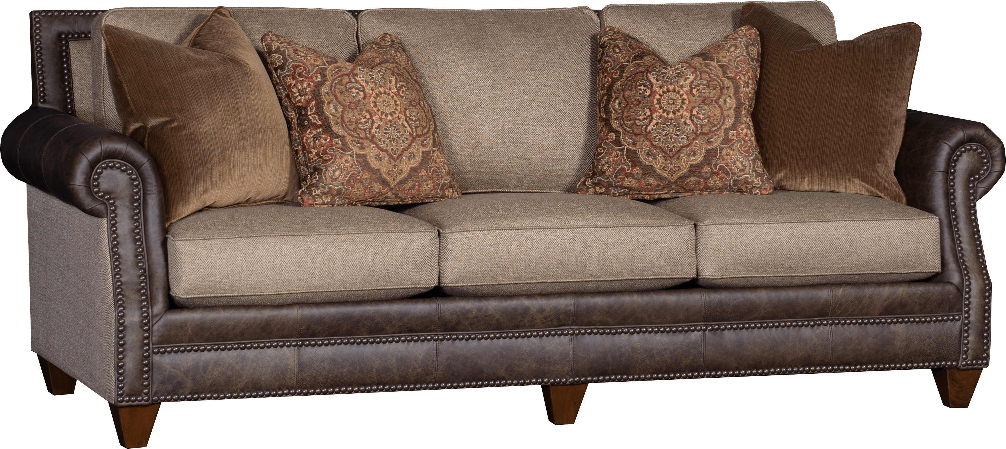 Leather And Fabric Sofa