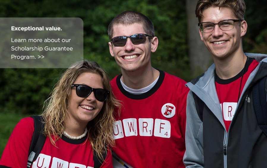 University of Wisconsin River Falls Three students smiling