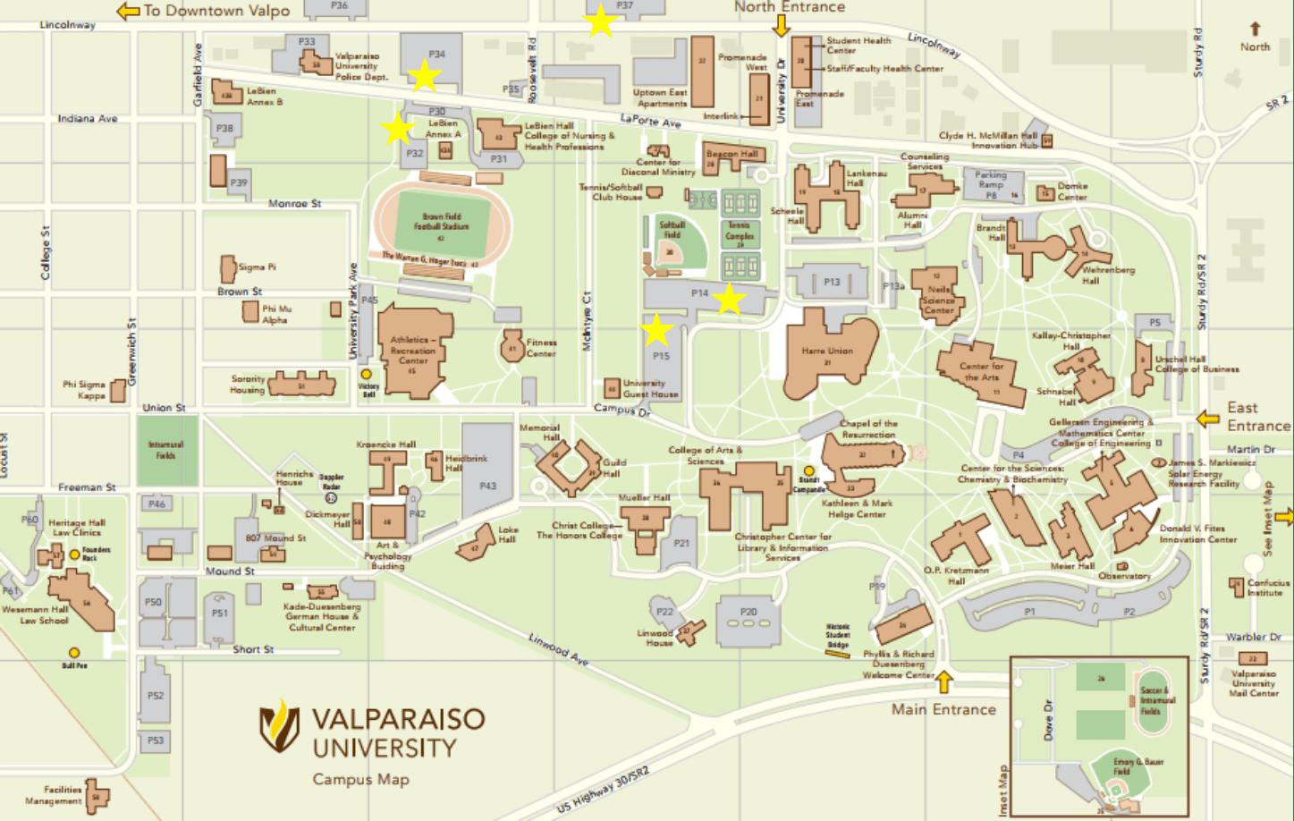 Valparaiso Campus Map.Valparaiso University Campus Map