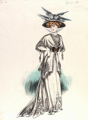 Fashion Drawing and Illustration in the 20th Century   Victoria and     Jeanne Paquin  1869 1936   fashion design  Paris  1907  Museum