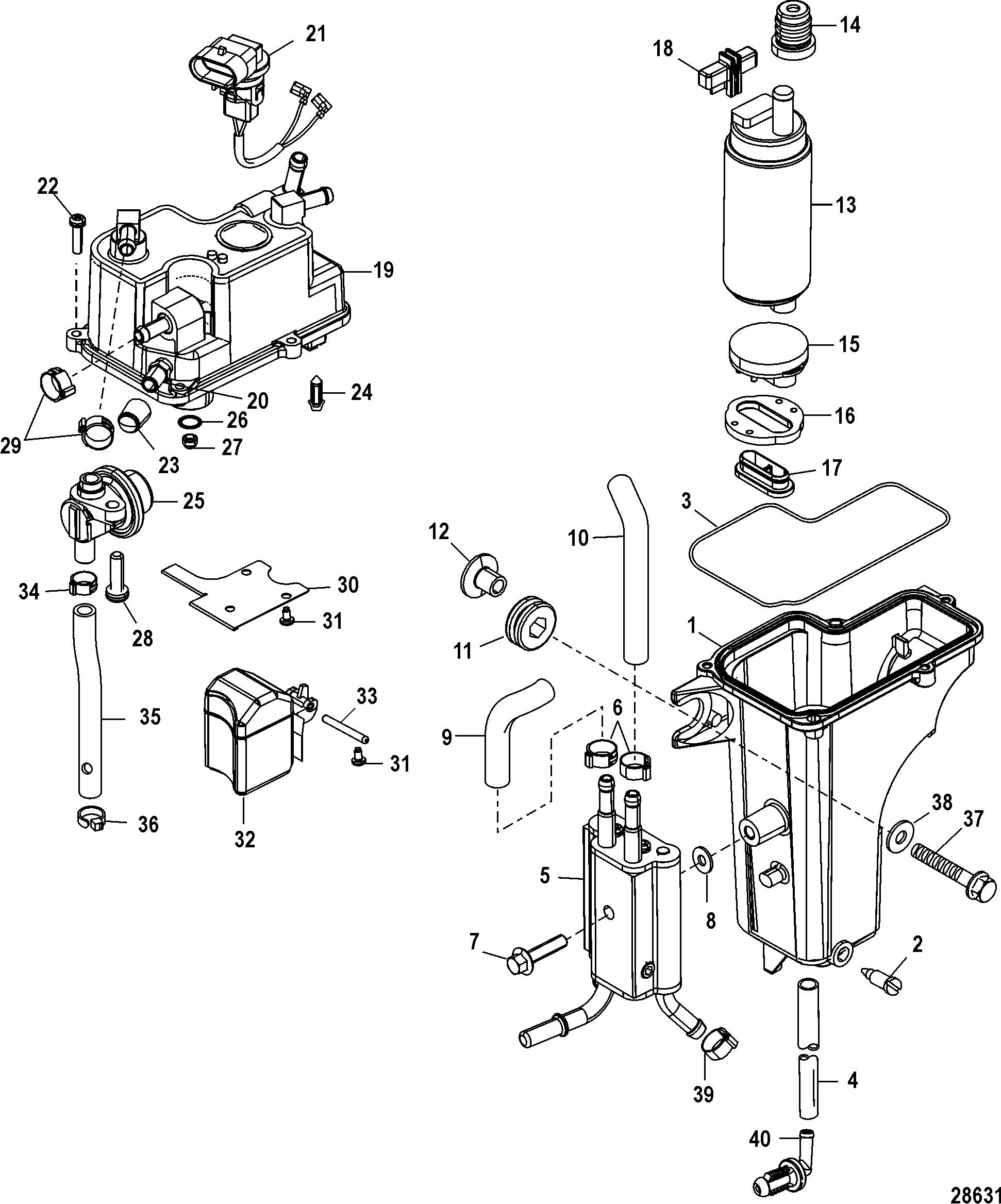 Mercury mariner 50 efi 4 cyl 4 stroke 0p515897 up vapor separator