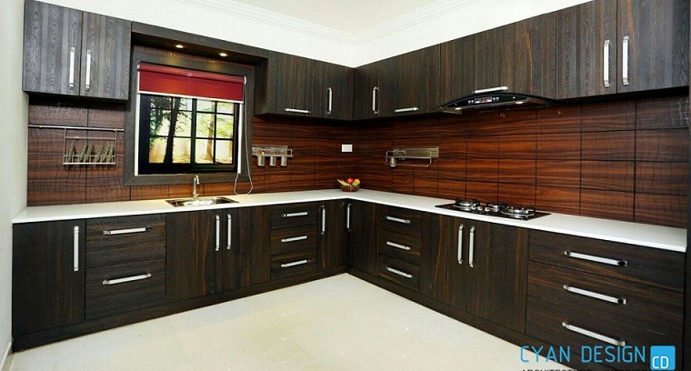 90 Square Feet Contemporary Modular Kitchen Interior Design