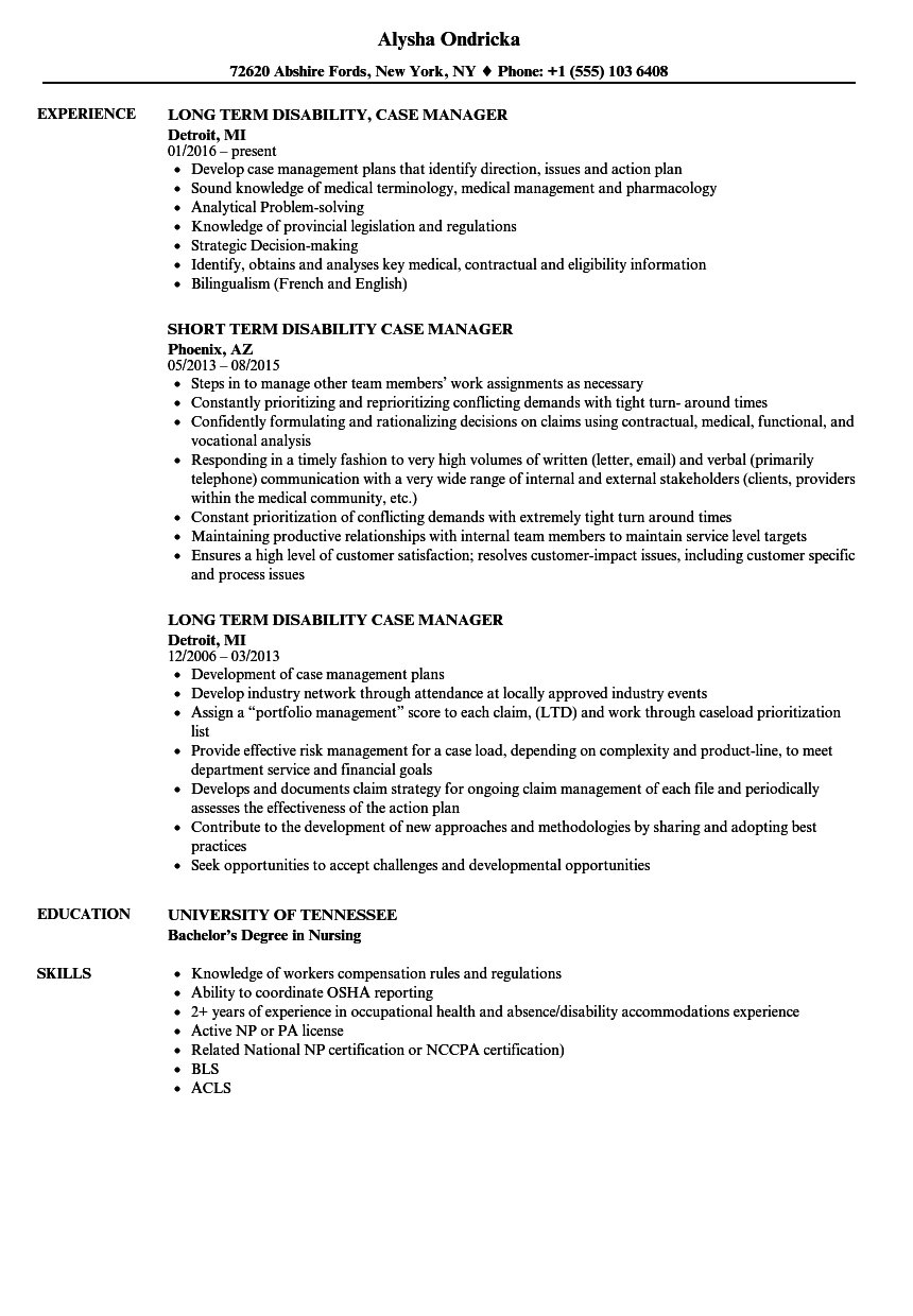 Sample Case Manager Resume sample Disability Case Manager Resume