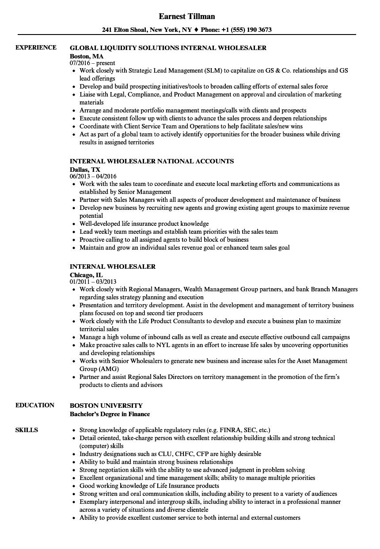 Internal Resume Examples