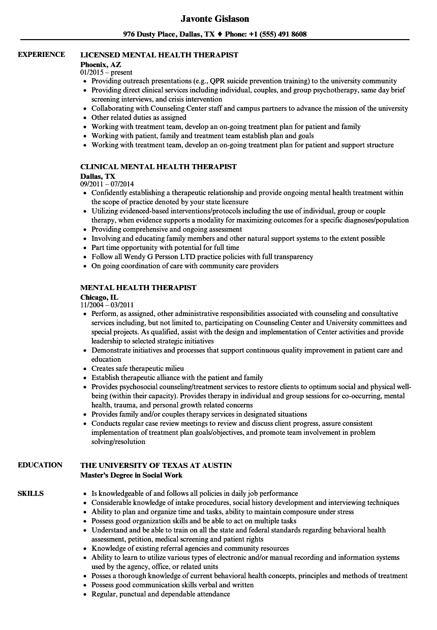 Resume Examples For Licensed Professional Counselor