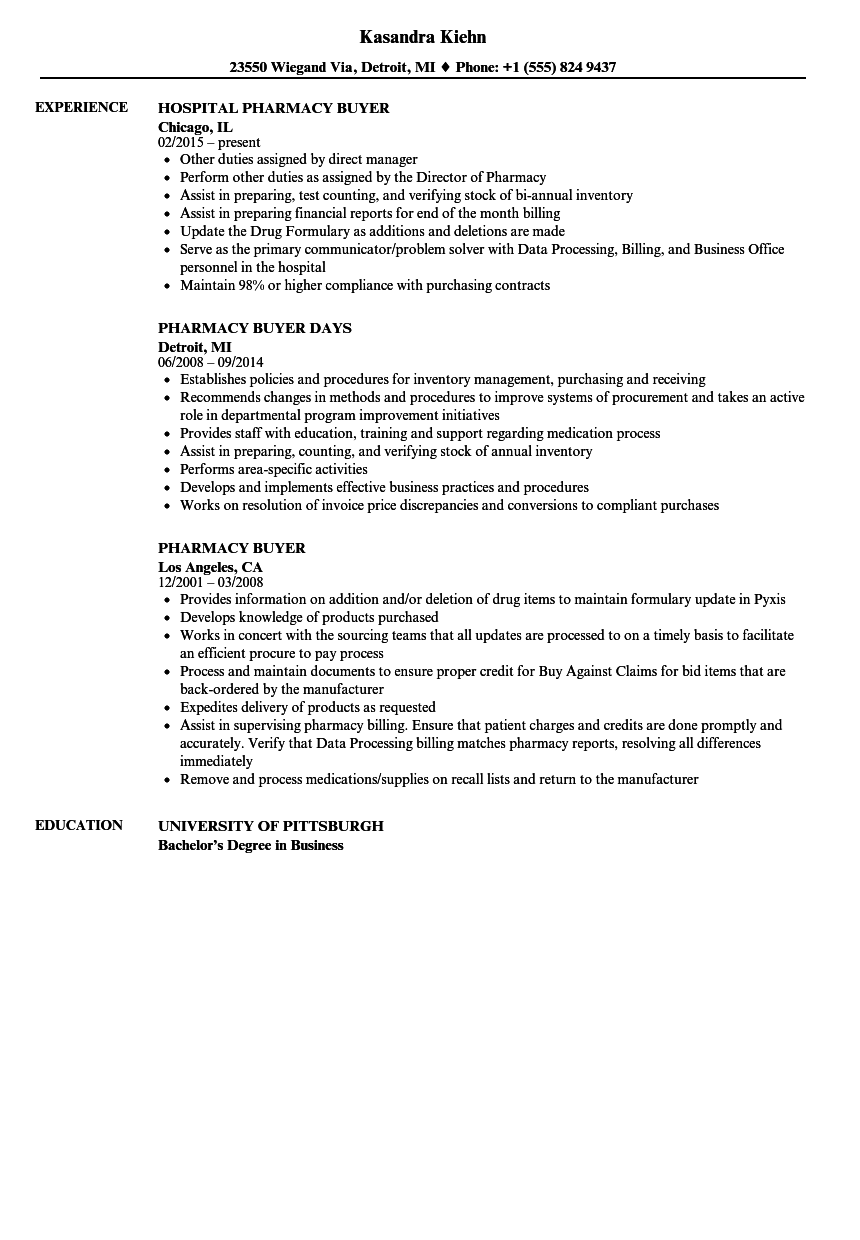 Pharmacy Buyer Resume Samples Velvet Jobs