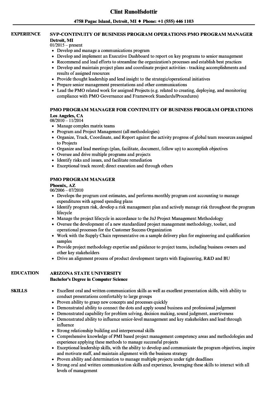 Global Samples Pmo Resume