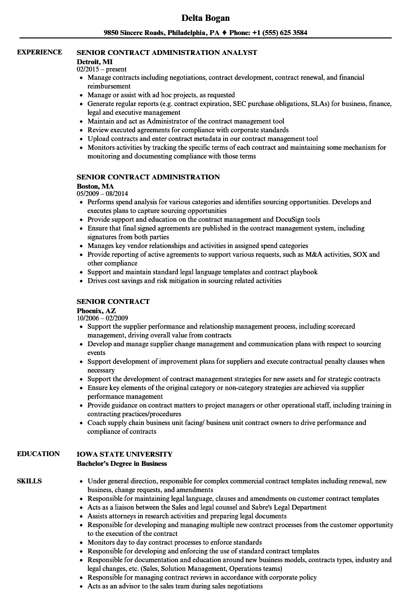 Senior Contracts Administrator Resume