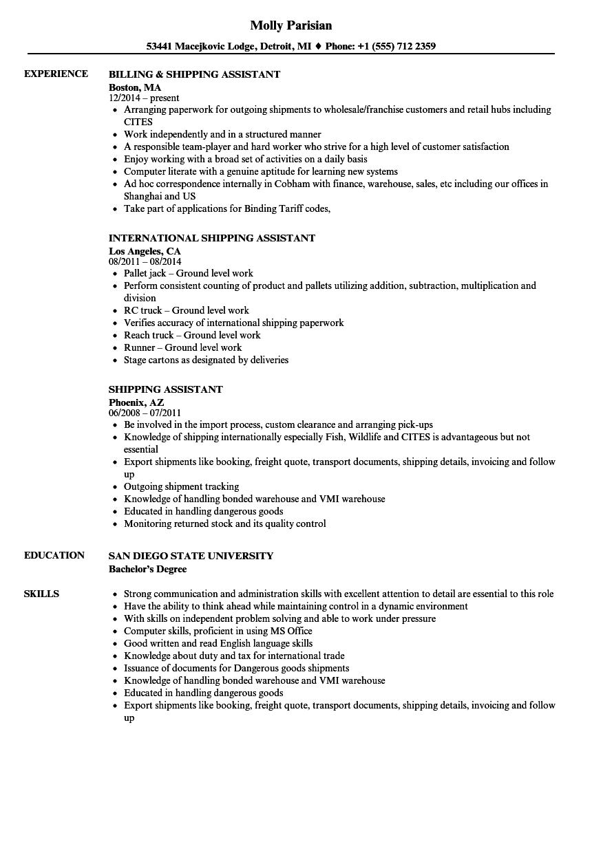 Shipping Assistant Resume Samples Velvet Jobs