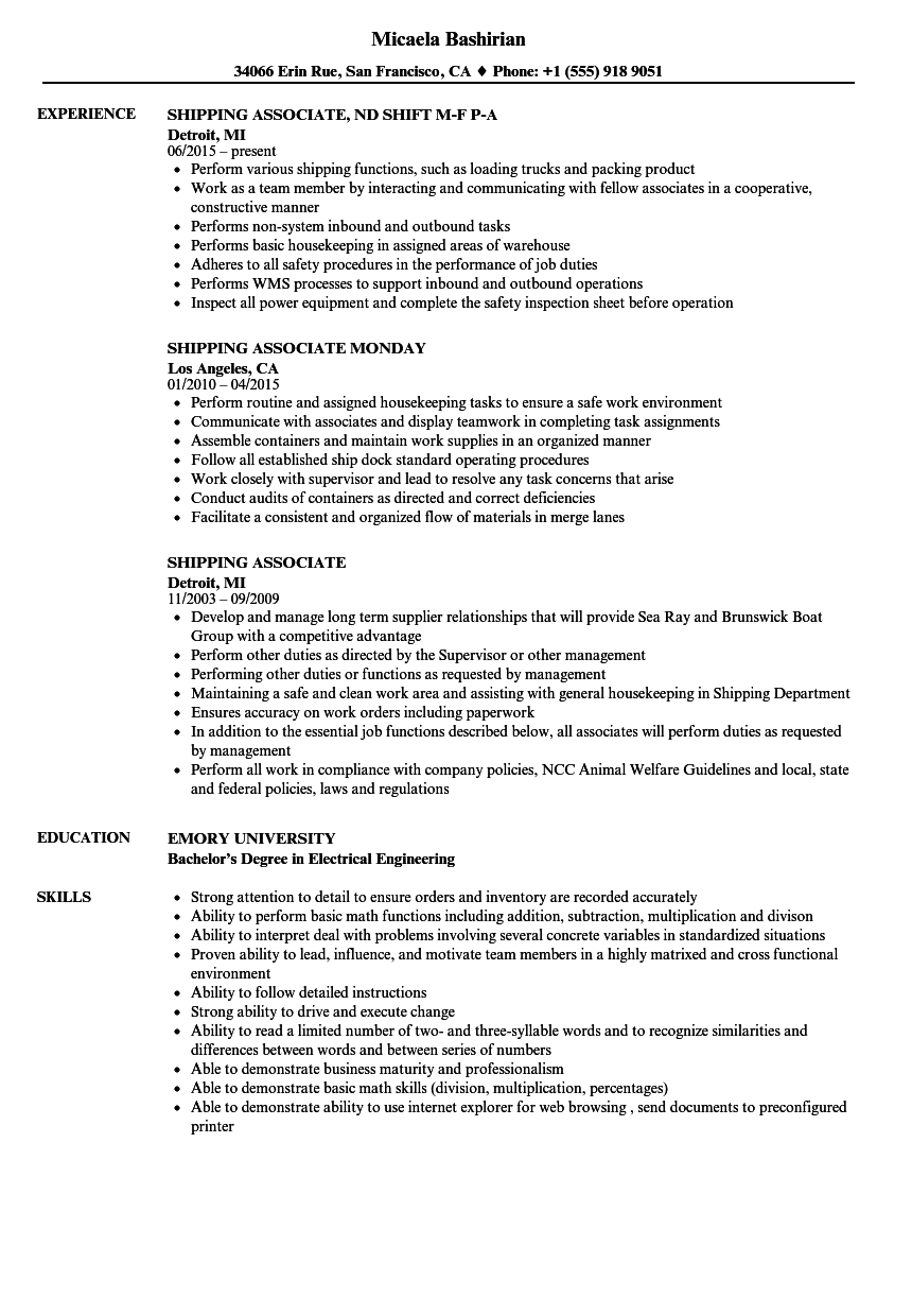 Shipping Associate Resume Samples Velvet Jobs