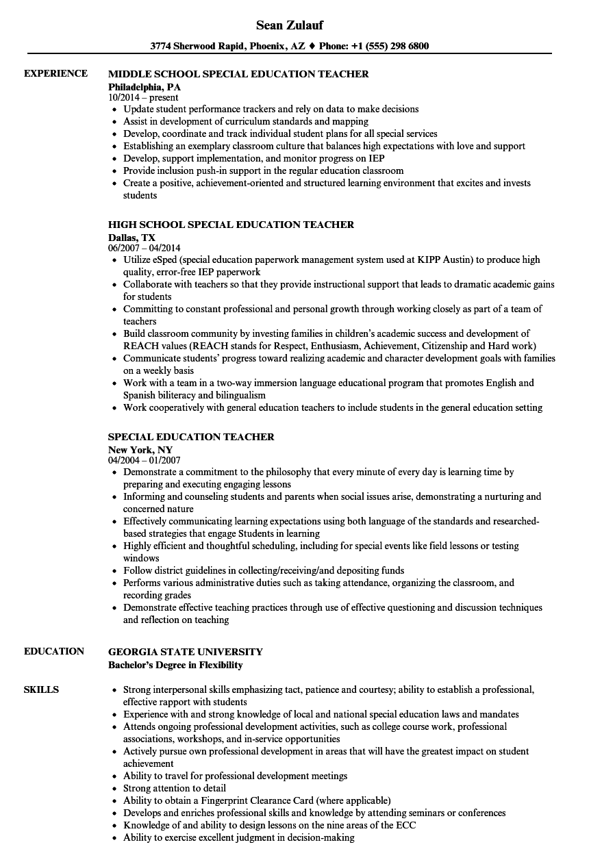 Resume Example Special Education Special Education