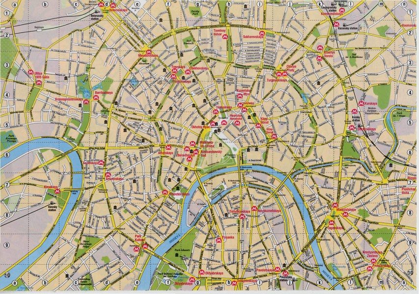 Detailed road map of Moscow city center  Moscow city center detailed     Detailed road map of Moscow city center  Moscow city center detailed road  map